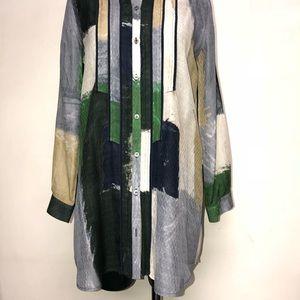 Piazza Sempione Silk Color Block Tunic Blouse